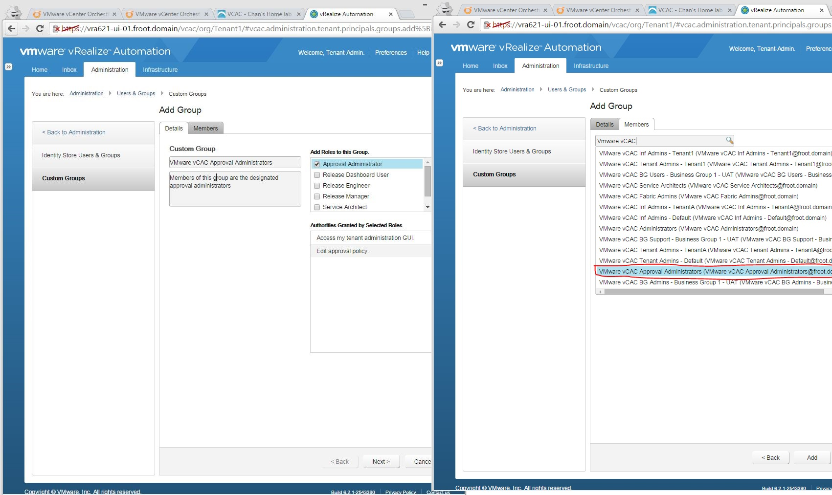 Vmware vrealize automation part 7 tenant administrator basic configure custom groups approval administrator release dashboard user release engineer release manager service architect roles malvernweather Image collections
