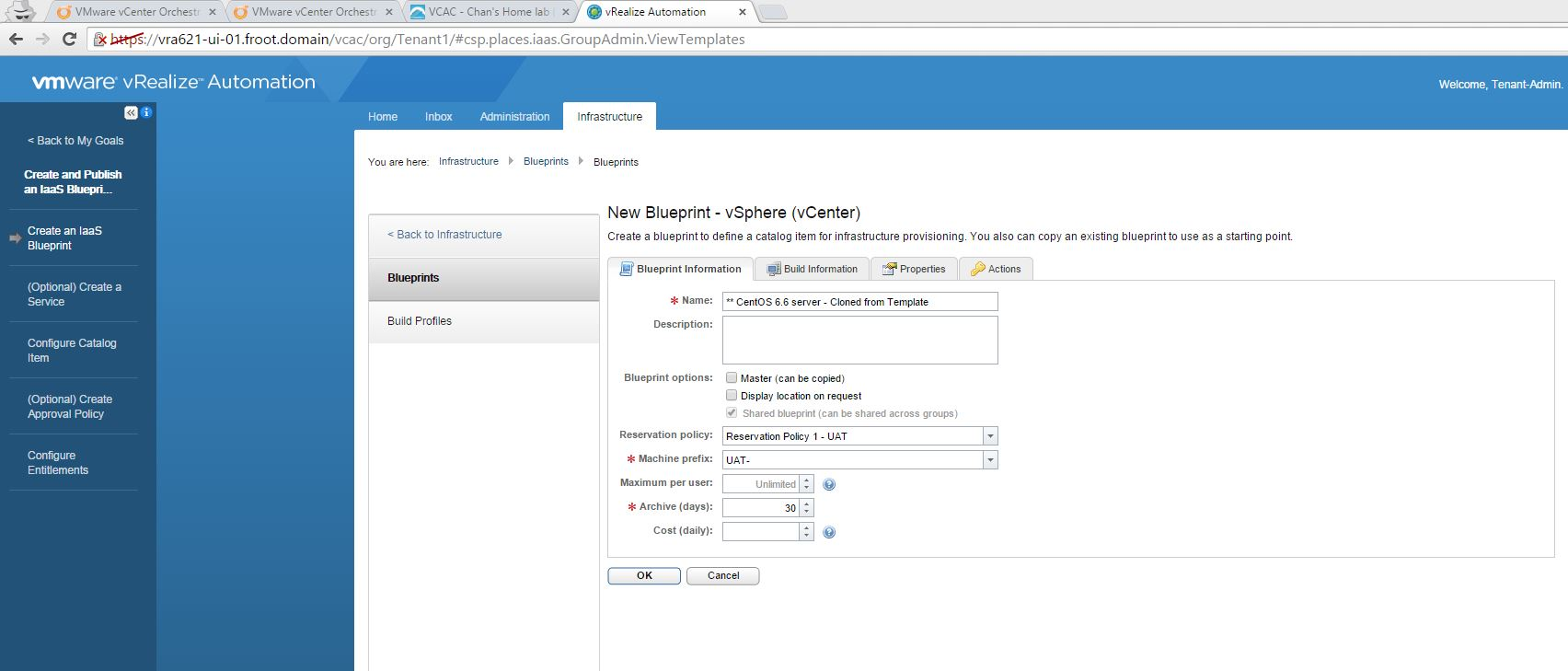 Vmware vrealize automation part 7 tenant administrator basic go to infrastructure blueprints and use new blueprint button to create a new virtual vsphere blueprint and fill out the basic blueprint information 212 malvernweather Choice Image