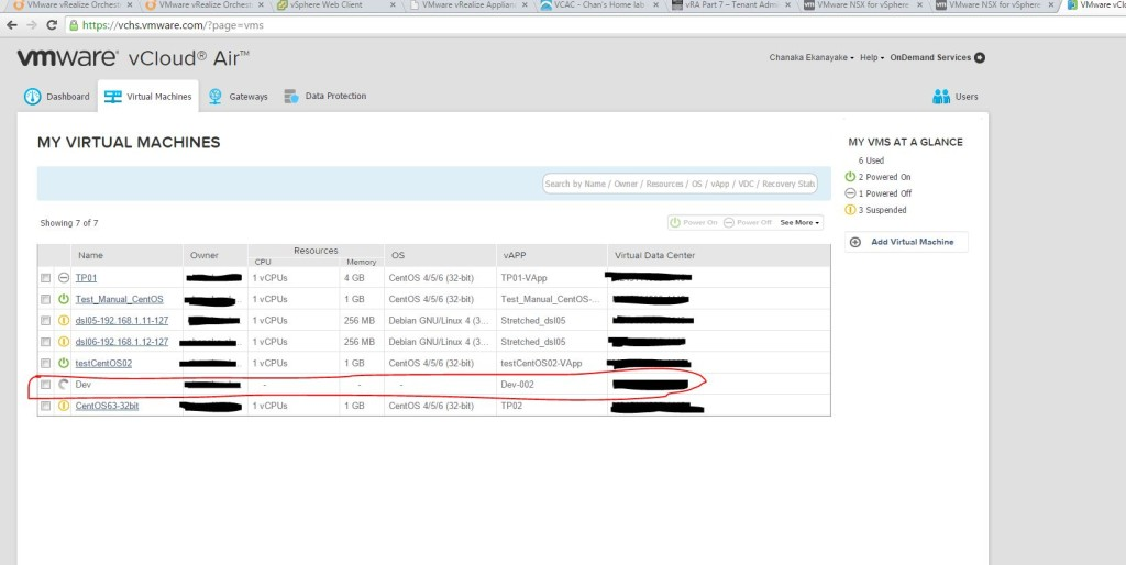 9. Being provisioned in vCloud Air portal automatically
